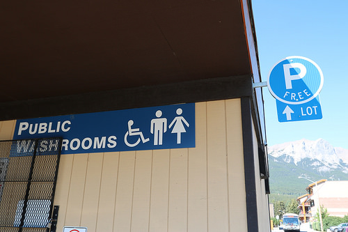Public washrooms in Canmore where apparently you can pee lots :-)